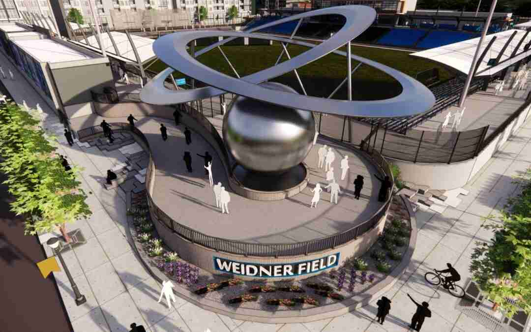 Massive Public Art Sculpture Revealed at Weidner Field